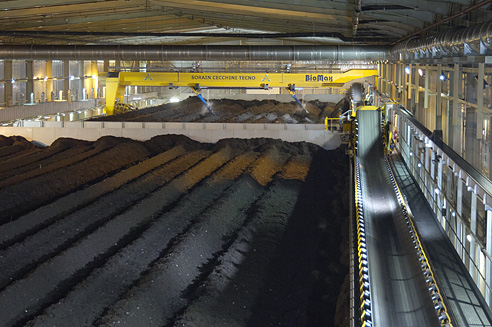 Industrial Photography of Waste treatment, composting area showing Biomax and Treeper