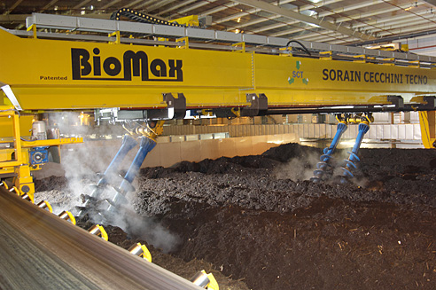 Biomax screws rotating decomposing material with conveyor system