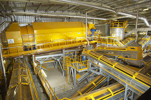 Industrial Interior showing waste treatment equipment and conveyors