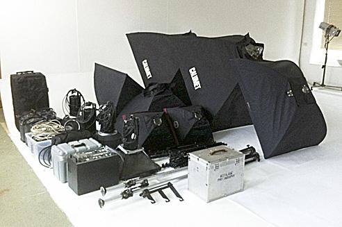 Lighting Equipment awaiting transport to location studio