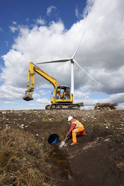 Maintaining drainage system at wind farm