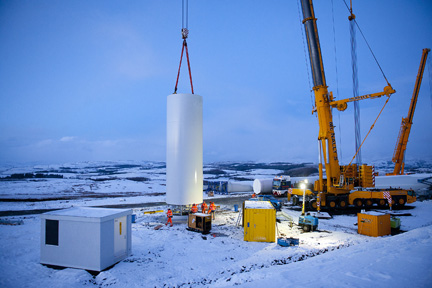 Wind turbine tower installation