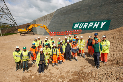 Retaining wall construction - team shot