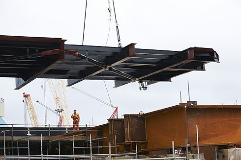 Crane lift of platform into pposition