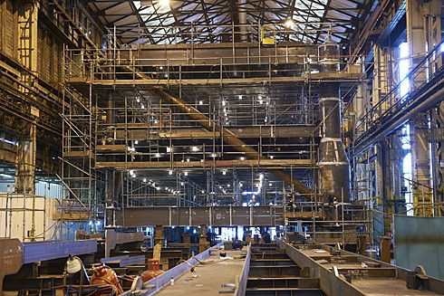 Part of the platform takes shape inside the shed